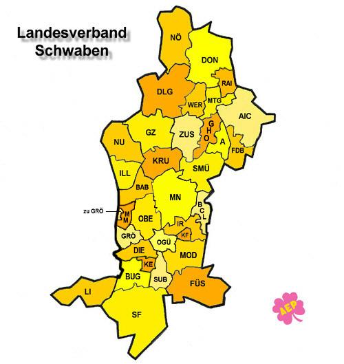 Schwaben Karte.Landesverband Schwaben